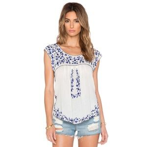 Rory Beca Deka  boho embroidered floral cotton top